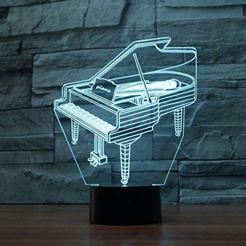 LED Nachtlicht,KINGCOO Magical 3D Visualisierung Amazing Optische Täuschung Touch Control Light 7 Farben ändern Schreibtischlampen für Kinderzimmer Home Decoration Best Geschenk (Piano) - 4