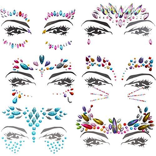 (6 Stück Juwelen Aufkleber Gesicht Strass Tattoo Körper Kristall Glitter Edelstein Gesicht Edelsteine Schmucksteine Face Jewels Für Festival Parties Shows Make-Up Haut Kunst (bunt))