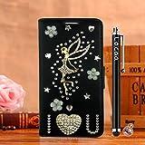 Locaa(TM) For Nokia Lumia 1020 Nokia1020 Lumia1020 3D Bling Case Funda 3 IN 1 Accesorios Funda Bumper Shell Caso Alta Calidad Piel Cuero Para Protector Dura Cover Cas [1] Negro - Amar ángel