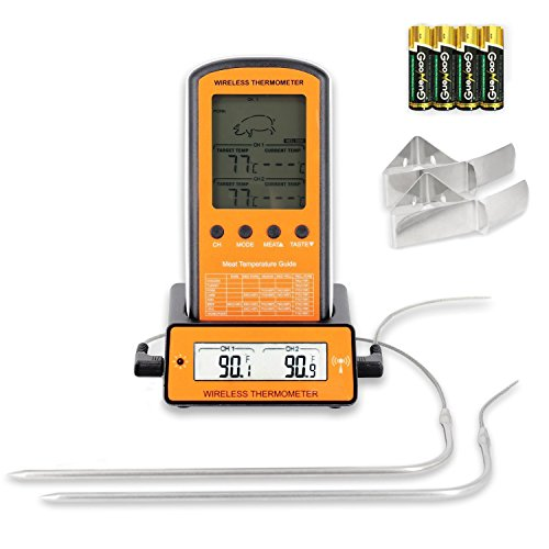 Grill Thermometer Bratenthermometer Wireless Remote Digital Thermometer mit 2 Temperaturfühlern für Küche Kochen Backen und Grillen (Grillen Thermometer)