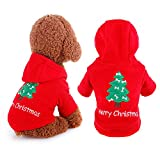 Pingenaneer Weihnachten Haustier Hunde Kostüm Kleidung Hooded Pullover Mode Hundejacke für Hunde Welpen, Rot, M