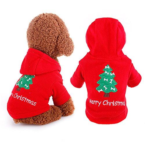 Pingenaneer Weihnachten Haustier Hunde Kostüm Kleidung Hooded Pullover Mode Hundejacke für Hunde Welpen, Rot, (Kostüm Schneemann Hund)