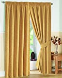 """Pair of Fully Lined GOLD 46"""" Width x Drop 90"""" JACQUARD SWIRL DESIGN Pencil Pleat Curtains with Matching Tiebacks by VICEROY BEDDING"""