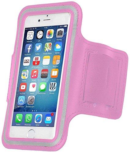 MOVOJA Sport-Fitness-Jogging-Armband Rosa Hülle Case für Smartphone Handy Neopren Oberarmtasche | mit Kopfhöhreranschluss geeignet für iPhone 6, iPhone 6s.