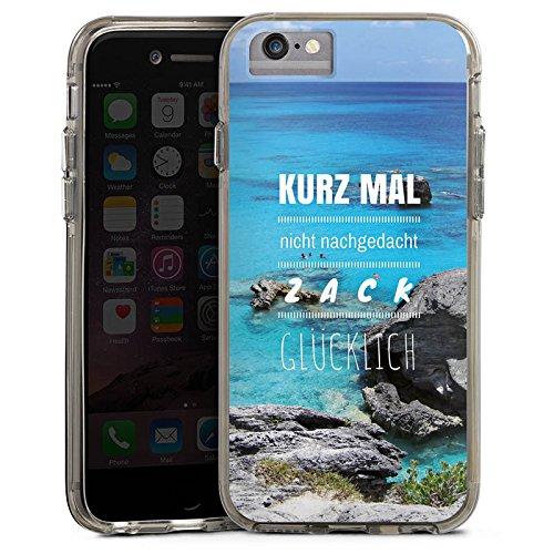 Apple iPhone 7 Plus Bumper Hülle Bumper Case Glitzer Hülle Happiness Phrases Sprüche Bumper Case transparent grau