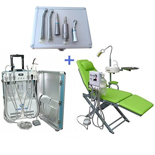 dentallabore New Deluxe Tragbare turbineneinheit 4H + faltbar, grün, mit LED-Lampe + Hand Kit 4H By Hot Dental