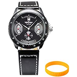 AMPM24 PMW010 Mens Leather Band Self-Winding Mechanical Sport Military Watch and Wristband + AMPM24 Gift Box