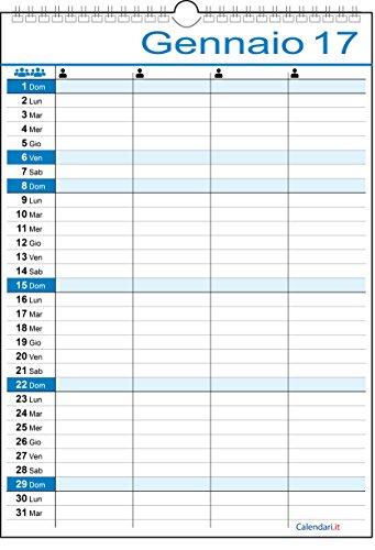 Calendario 2017 FAMIGLIA o LAVORO per 4 persone