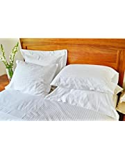 AVI Comfortable & Luxurious Microfiber Set of 4 Pillows with 100% Satin Striped Cotton 4 Pillow Covers