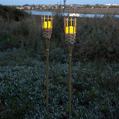 4er Set LED Tiki Bambus Fackel 100cm hoch batteriebetrieben Timer Lights4fun