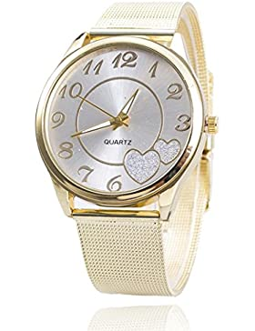 Sunnywill Neue Gold Mesh Band Armbanduhr für Frauen Mädchen Damen