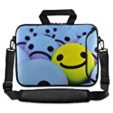 tolulu & # 174 ; Smile Face 24,6 cm 25,4 cm 25,9 cm Ordinateur Portable Netbook Tablette étui housse de transport avec bandoulière pour Apple iPad/Asus EeePC/Acer Aspire One/Dell Inspiron Mini/Samsung N145/Lenovo S205 S10/HP Touchpad Mini 210