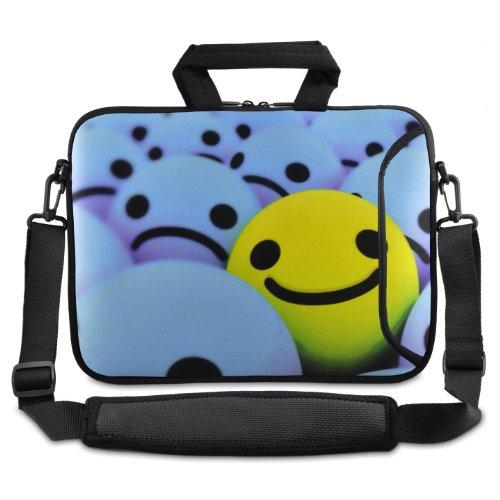 tolulu & # 174; Smile Face 24,6cm 25,4cm 25,9cm Ordinateur Portable Netbook Tablette étui housse de transport avec bandoulière pour Apple iPad/Asus EeePC/Acer Aspire One/Dell Inspiron Mini/Samsung N145/Lenovo S205S10/HP Touchpad Mini 210