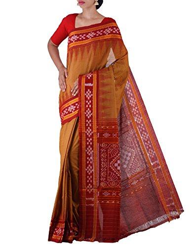 Unnati Silks Women Brown-Maroon Pure Handloom Sambalpuri Cotton Ikat Saree(UNM22054)