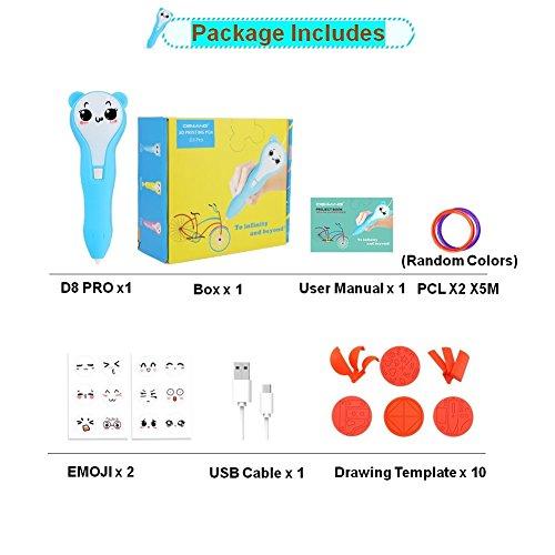 Friencity 3D Druck Stift für Kinder Erwachsene, PCL Niedrigtemperatur, wiederaufladbare 3D Doodler Drawing Drucker Stift mit LED-Licht, 10pcs Zeichnung Vorlagen und 10M PCL Filamente für Kunsthandwerk - 9
