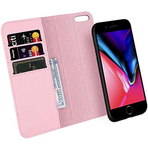 ZOVRE iPhone 8/7 Hülle Echt Leder Luxus Serie Unterstützt kabellose Laden Handyhalterung Auto Magnet Lüftung Abnehmbar Geldbörse Hülle Magnetverschluss Geschenkbox - Rosa