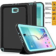 """Samsung Galaxy Tab 10,1""""en un caso, saymac resistente a prueba de golpes 3capas completa protección híbrido resistente armadura Defender funda plegable de piel sintética con cierre magnético con función de encendido/apagado para Samsung Tab A 10,1sm-t580N/t585C/p580N -- niños estudiantes Workmen constructores caso Lightblue"""