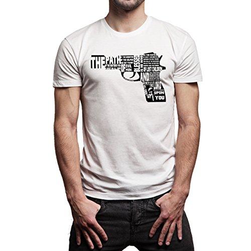 Pulp Fiction Ouentin Tarantino Movie Gun Word Background Herren T-Shirt Weiß