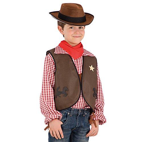 Carnival Toys 6664-Set Kostüm, Cowboy Junge mit Weste, Hut und Halstuch (Cowboy-hut-jungen)
