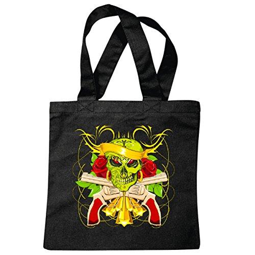 Piraten Bilder Der Kostüm Karibik - Tasche Umhängetasche Piraten - Seeräuber - Räuber - Dolch - Jack - Karibik Einkaufstasche Schulbeutel Turnbeutel in Schwarz