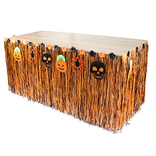Luau Tisch Rock Gras Tischröcke mit Hibiscus Blume Tischdecke für Halloween Dekoration Geburtstag Party Dekoration (276cm x 75cm, Halloween Luxus B) (Halloween-pool-tisch)