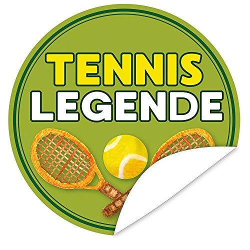 Tennislegende | Aufkleber rund | 9,5 cm | inkl. Alles Gute - Postkarte | tennis geschenkartikel | Zur Personalisierung von Geschenken