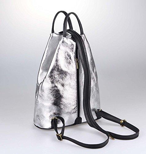 OBC Only-Beautiful-Couture, Borsa a zainetto donna Argento argento/nero ca. 25x30x11 cm (BxHxT) argento/nero