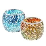 F Fityle 2er-Set Mosaik Glas Votivkerze Teelichthalter Kerzenhalter Hochzeit Dekoration