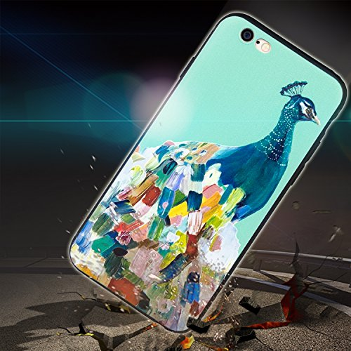 TPU Handyhülle für iPhone 6 6s Forepin® Ultra Slim Silikon Case mit Farbe Muester Design Weichem TPU Schutzhülle Bumper Case für Ihr iPhone 6 6s 4.7 Zoll Smartphone, Blumen und Häuser Pfau