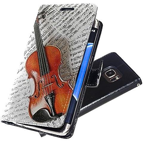 Musica 003, Violino e Note Musicali, Nero Portafoglio Magnetico Custodia in Pelle con Funzione di Appoggio Borsa con Disegno Strutturato per Samsung Galaxy S7 Edge