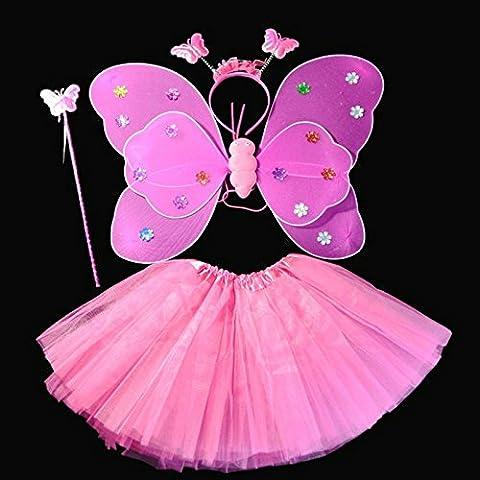 Kasit 4 pezzi Set Fairy Princess farfalla Costume Party ala bacchetta fascia Girl Dress fata Rod fata principessa Costume Scuola Show - Red Rose
