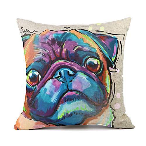 Vioaplem Mops Haustier Hund Kissenhüllen Streifen Baumwolle Leinen Wurf Kissenbezug zum Couch Sofa Schlafzimmer Zuhause 45 * 45cm Bar Mop