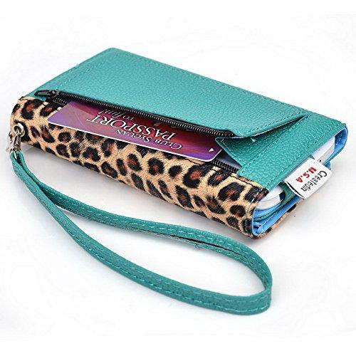 Kroo Pochette Téléphone universel Femme Portefeuille en cuir PU avec sangle poignet pour Maxwest Astro 5 Multicolore - Emerald Leopard Multicolore - Emerald Leopard