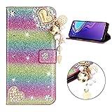 Miagon Hülle Glitzer für Huawei P20 Pro,Luxus Diamant Strass Herz PU Leder Handyhülle Ständer Funktion Schutzhülle Brieftasche Cover,Regenbogen Rosa