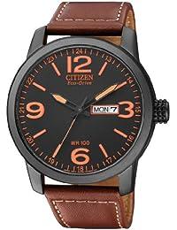 Citizen BM8476-07EE - Reloj analógico de cuarzo para hombre, correa de cuero color marrón (solar)