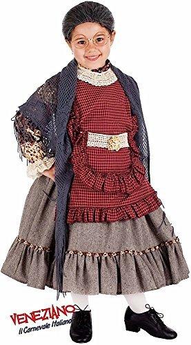 Italian made Mädchen Super Deluxe alt Damen Oma Halloween Karneval Kostüm Verkleidung Outfit 3-10 Jahre - 6 years (Kinder Oma Kostüme)