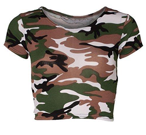 Re Tech UK Damen Kurzärmlig Bauchfreies Top Mode T-Shirt Rundhals Sommer Größen 8-14 Armee Tarnfarbe Tarnung