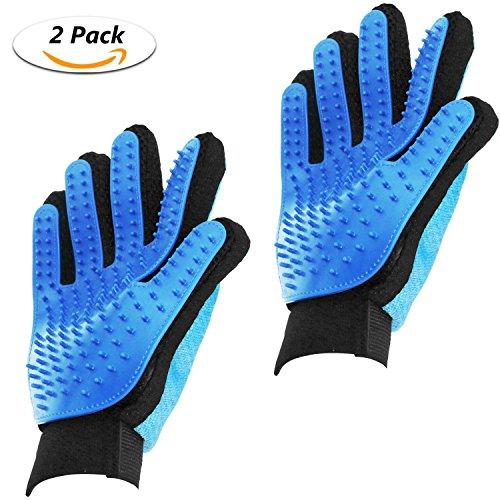 Philonext 2 Stück Pflege-Handschuh zur Reinigung & Massage für Haustier Hund & Katze, Reinigungsbürste zur Haarentfernung, Badebürste & Handschuh für Haustier (Blue 2)