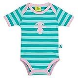 AMPELMANN Babysitter | Kurzarmbody Mädchen | Ampelmädchen Pink Gestickt 100% Baumwolle (Petrol Gestreift, 72)