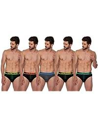 Lux Cozi GLO Men's Multicolored Cotton Briefs (Pack of - 5)