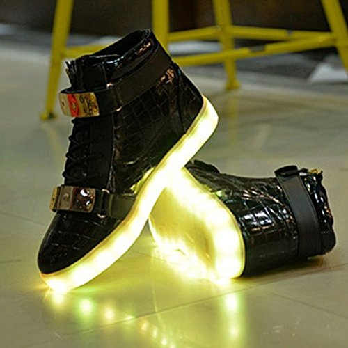 (Present:kleines Handtuch)JUNGLEST® 7 Farben, die USB-Lade-LED Aufleuchten-blinkende Sportschuhe High Top Sneakers Luminou Schwarz
