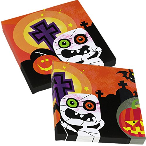 amscan 20 Servietten * Halloween Kids * für gruselige Mottopartys // Kinder Geburtstag Party Napkins Oktober Spinne Kürbis Skelett (Halloween Party Kids)