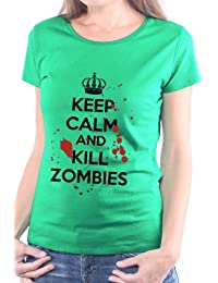 Mister Merchandise Femme Chemise T-Shirt Keep Calm and Kill Zombies