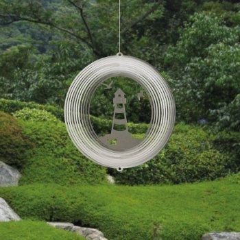 Edelstahl Windspiel - LEUCHTTURM 180 - lichtreflektierend - Durchmesser: 18cm - inkl. Aufhängung von Colours in Motion auf Du und dein Garten