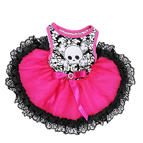 Kirei Sui Halloween Sparkle Monster Hot Rosa Damast Spitze Pets Tutu, S, Skull Pirate