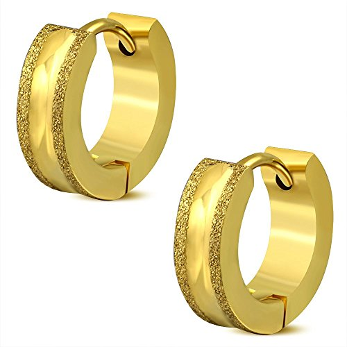 Bungsa Creolen Gold mit sandgestrahlten Rändern 4mm - 1 Paar Klappcreolen Edelstahl (Ohrstecker Creolen Ohrhänger Huggie Ohrschmuck Ohrklemmen Damen Frauen Herren Mode)