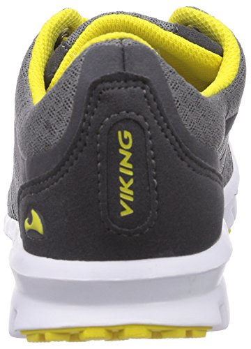 Viking Saratoga, Baskets Basses mixte enfant Gris - Grau (Charcoal/Yelow 7713)