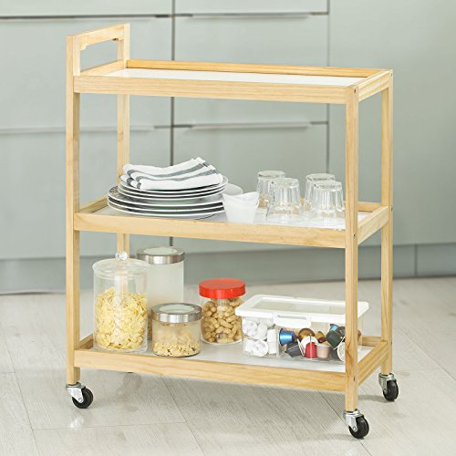 SoBuy FKW34-WN, Wooden 3 Shelves Serving Trolley on Wheels, Home Kitchen Trolley Cart, Perfect for Entertaining