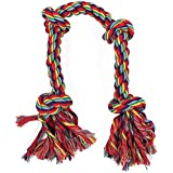 Foodie Puppies Cotton Rope Dog Chew Toy Large With 4 Thick Chew Knots, 22 Inches Long For Aggressive Chewers - Extra Durable - Nearly Indestructible - Heavy Duty - Washable (Color May Vary)