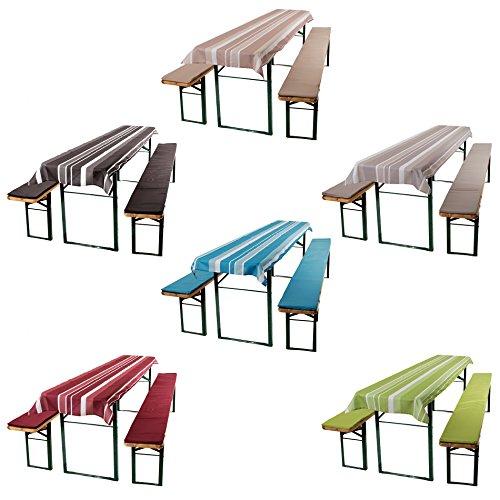 ESTEXO Home & Garden 3-Teiliges Auflagen-Set für Biertischgarnituren, Bierbankauflage, Sitzpolster,...